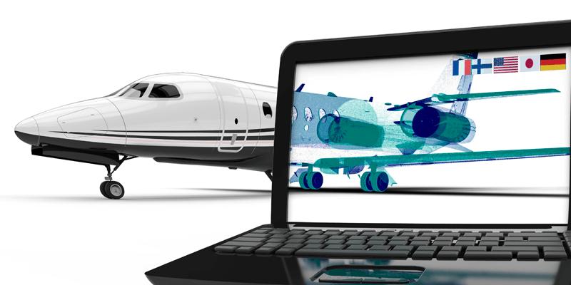 Avion avec la motié de son affichage en modèle numérique a l'intérieur d un écran