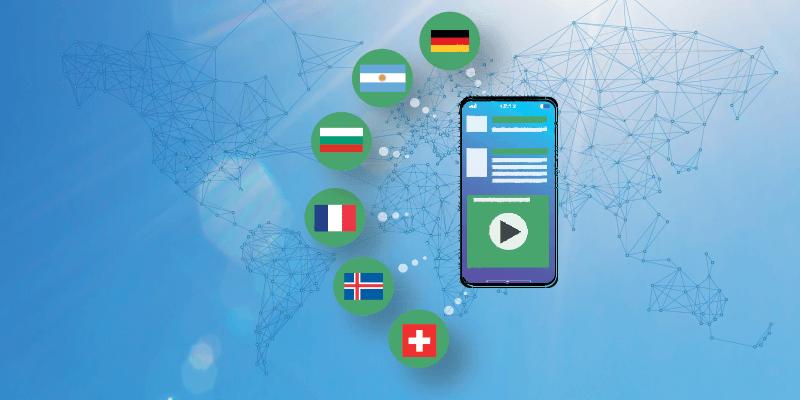 Mobile avec affichage de différentes langues